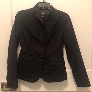 Gap Black Fine Pinstripes Cotton Fitted Blazer 0